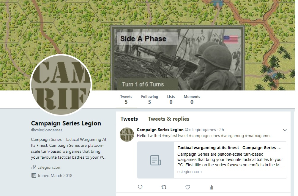 Campaign Series is now on Twitter | Screenshot of the CS Legion Twitter Account.
