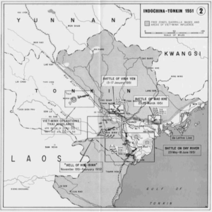 Map of Indochina - Tonkin 1951