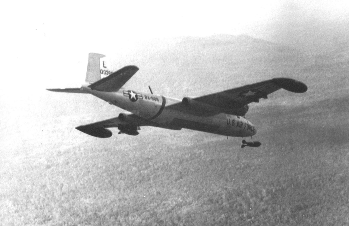 A USAF B-57 releasing its payload.