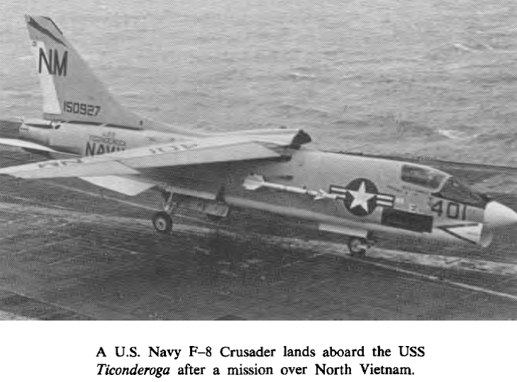 A USN F-8 Crusader on a carrier.