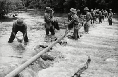 Men from the 592nd Pipelaying Regiment at work