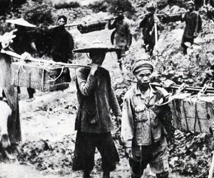 A Viet Minh Porter Column on Foot