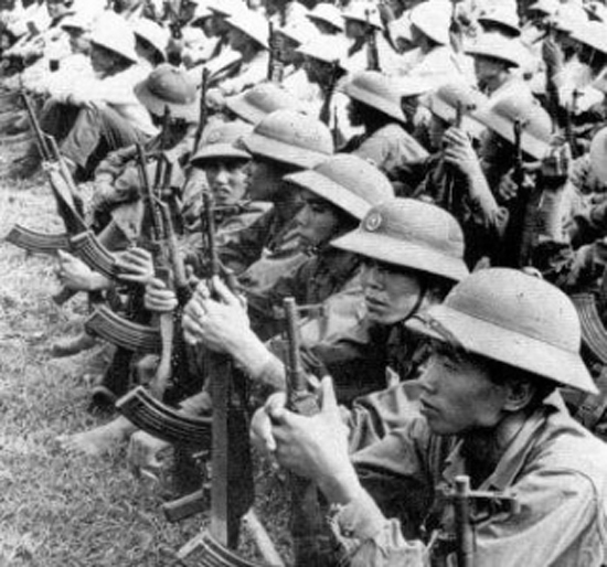 NVA Soldiers showing sun helmets and AK-47s