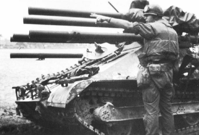 Lt. Col. Cheatham directs a target for Ontos, equipped with 106mm recoilless rifle