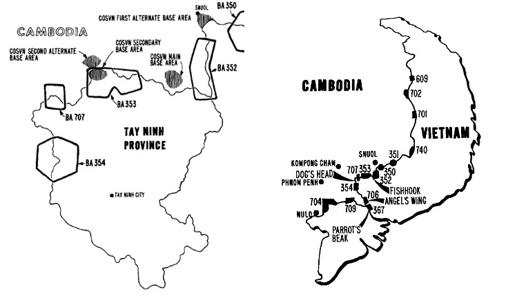 COSVN Base Areas along Cambodia-South Vietnam Border