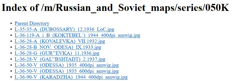 Index of Russian Maps