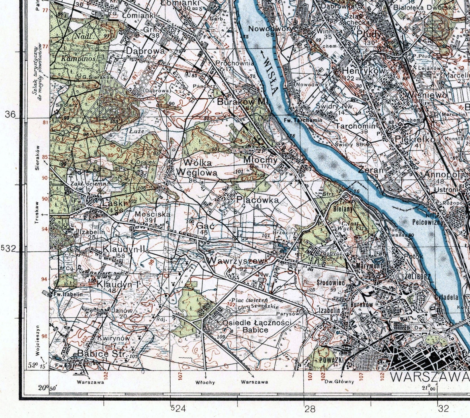 Screenshot section of a 100k Warsaw Map