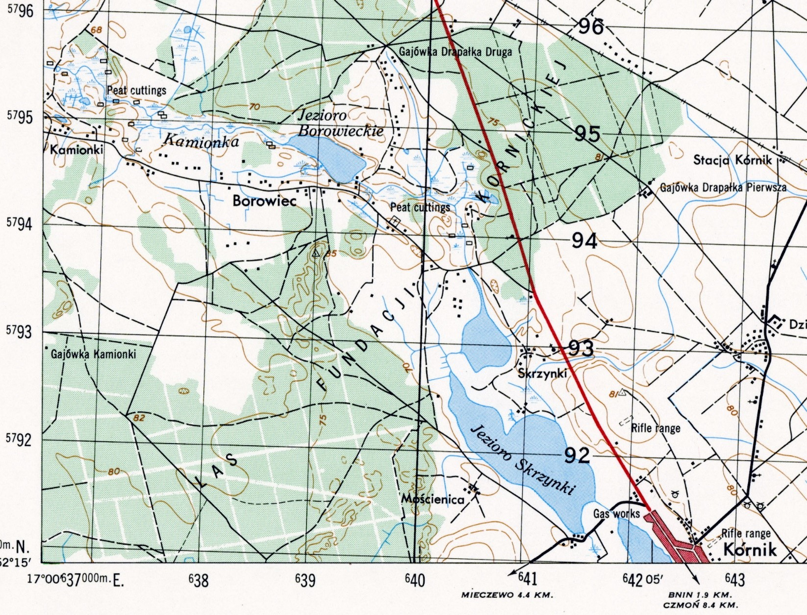 Screenshot section of a 50k AMS M751 map